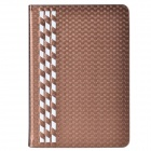 Stylish Plaid Pattern PU Leather + Plastic Case for IPAD MINI 1 / 2 - Coffee Gold + White