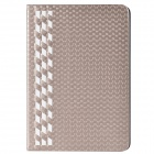Stylish Plaid Pattern PU Leather + Plastic Case for IPAD MINI 1 / 2 - Champagne Gold + White
