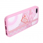 Plastic Bumper with Envelope Print Matte Back Cover for IPHONE 5 / 5s - Pink
