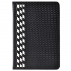 Stylish Plaid Pattern PU Leather + Plastic Case for IPAD MINI 1 / 2 - Black + White