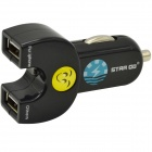 STAR GO ST-10 Dual USB Car Cigarette Lighter Adapter Charger for IPHONE + More - Black (12~24V)