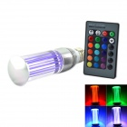 E27 3W 180lm 1-LED RGB Light Lamp w/ Remote Control - Purple + Silver (AC 85~265V)