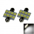 Festoon 36mm 1.6W 120lm 8 x SMD 5050 LED White Light Car Reading / Roof / Dome Lamp - (12V / 2 PCS)