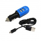 Dual-USB Car Charger Adapter + Micro USB Data Charging Cable for Samsung - Blue + Black (12~24V)