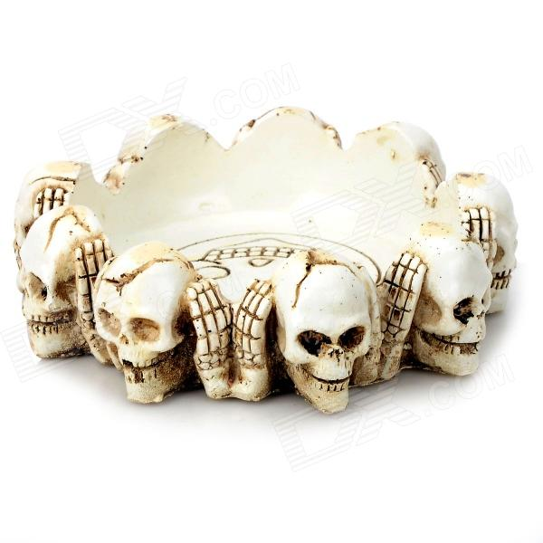 HongYang Stylish Skull Resin Ashtray - White + Brown ashtray