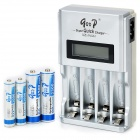 "GOOD 903 Universal 1.5"" LCD Battery Charger + 2 x AA / AAA Batteries Set - Silver (EU Plug)"