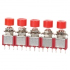 DIY Replacement Push Button Momentary Switch - Red + Silver (5 PCS)