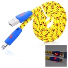 Woven Nylon Micro USB Male to USB 2.0 Male Data Sync / Charging Cable - Yellow + Blue (100cm)