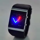 Double Heart Pattern Blue Red Light Dial Silicone Band Quartz Wrist Watch - Black (2 x CR2016)