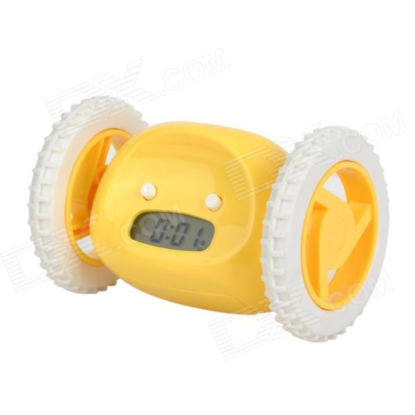 BF1818 Creative Run-Around Wake-Up-n-Catch-Me Digital Alarm Clock on Wheels - Yellow (4 x AAA)