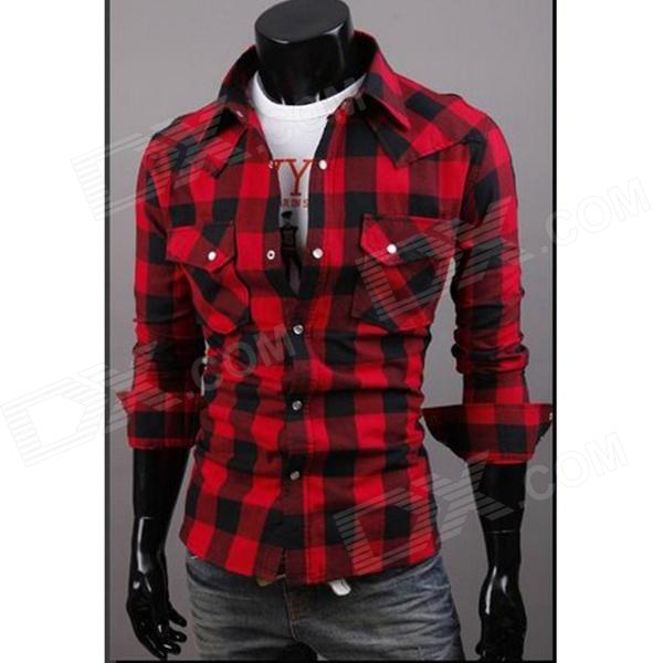 C56 Fashionable Large Lattice Leisure Men's Long Sleeve Shirt - Red + Black (Size-XXL)
