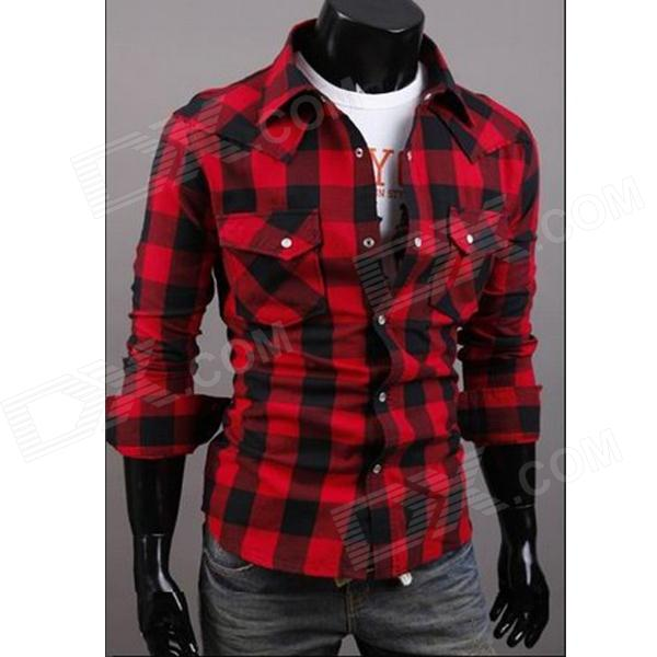 C56 Fashionable Large Lattice Leisure Men's Long Sleeve Shirt - Red + Black (Size-L)