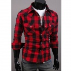 C56 Large Lattice Men's Long Sleeve Shirt - Red + Black (Size L)