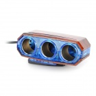 XB-052 90° 360° Rotatable 1-LED Blue Light 3-hole 12V Car Cigarette Lighter - Wood
