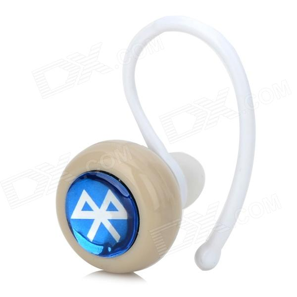02-A Mini Portable Bluetooth V3.0 Stereo Earphone w/ Handsfree Call - Blue + Beige