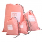 Drawing Strap Design Gadgets Storage Nylon Bag Pouch Set - Pink (4 PCS)
