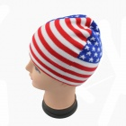 US Flag Pattern Knitting Hat - White + Red + Blue