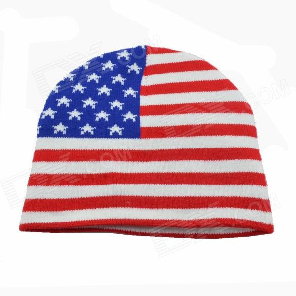 Knitting Pattern Us Flag : US Flag Pattern Knitting Hat - White + Red + Blue - Free Shipping - DealExtreme