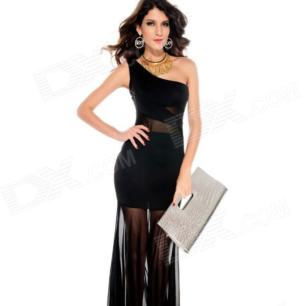 LC2697 Evie One Shoulder Mesh Insert Fishtail Maxi Dress - Black (Free Size)