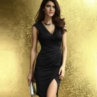 LC6181-2 Ruched Wrap Midi Dress - Black (Free Size)