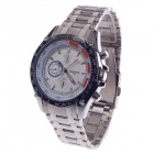 BADACE 2521 Men's Stainless Steel Band Quartz Wrist Watch - Silver + Black + White (1 x LR626)