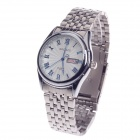 BADACE 2204 Men's Stainless Steel Band Quartz Wrist Watch w/ Calendar Display - Silver + White