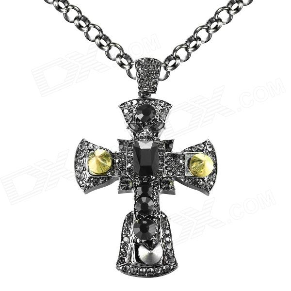EQute SPEW22C2 Fashionable Black Rhinestones Cross Sweater Chain Necklace - Black (33) gorgeous 60cm length golden thick braided wheat chain necklace for men