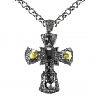 "EQute SPEW22C2 Fashionable Black Rhinestones Cross Sweater Chain Necklace - Black (33"")"