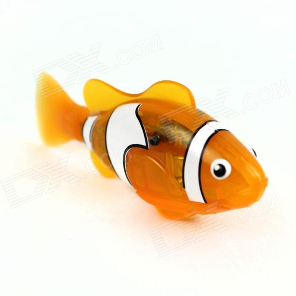 ROBO flash transparent Pet jouet électronique Robot Poisson - Orange clair + blanc + noir (2 x L1154)