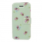 Fashion Flower Pattern PU Leather Protective Case for IPHONE 5 / 5s - Green