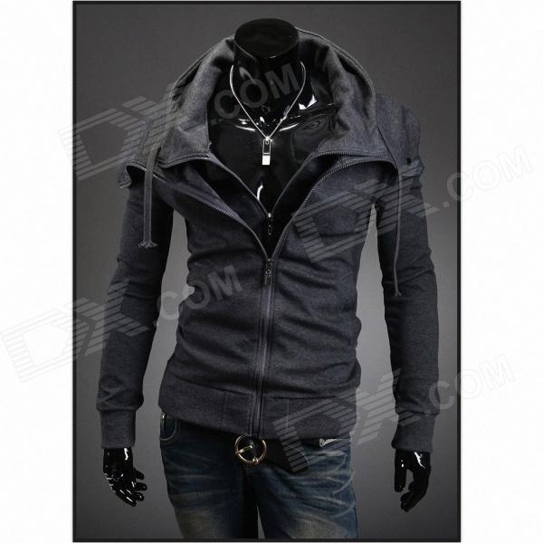 Stylish Men's Slim Hooded Fleece - Dark Gray (Size-XXL)