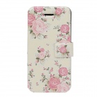 Fashionable Flower Pattern Protective PU Leather Case for IPHONE 5 / 5S - Multicolored