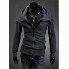 WY34 Stylish Men's Slim Hooded Fleece - Dark Gray (Size-XL)