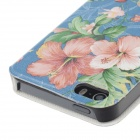 Fashionable Flower Pattern Protective PU Leather Case Cover for IPHONE 5 / 5S - Multicolored