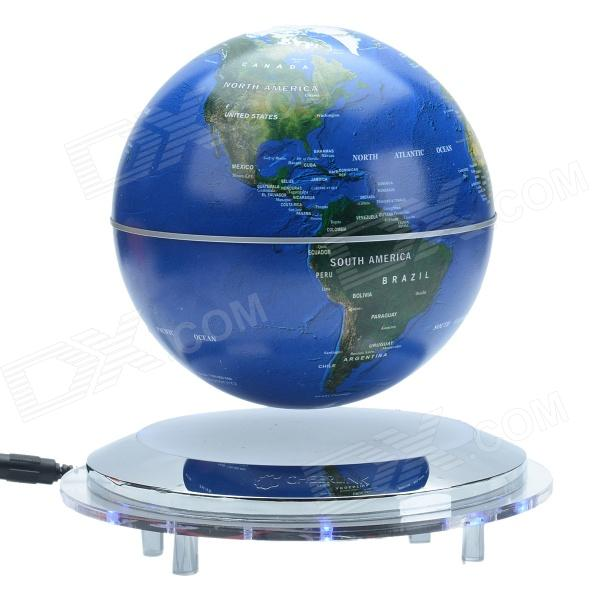 CHEERLINK 142mm Anion Flying Rotation Magnetic Levitation Globe - Deep Blue (EU plug / AC 100~240V)