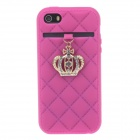 Stylish Protective Silicone Back Case w/ Rhinestone Crown Decoration for IPHONE 5 / 5S - Deep Pink
