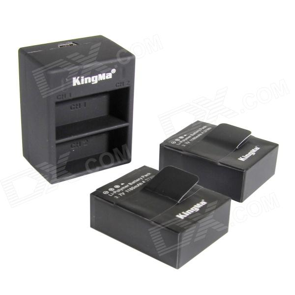 Kingma AHDBT-302 1180mAh Batteries + Dual-Slot USB Charger for GoPro HD HERO3+, HERO3 - Black kingma bm020 dual usb dual clot battery