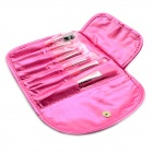7-in-1 Makeup Brush Set - Dark Red + Pink