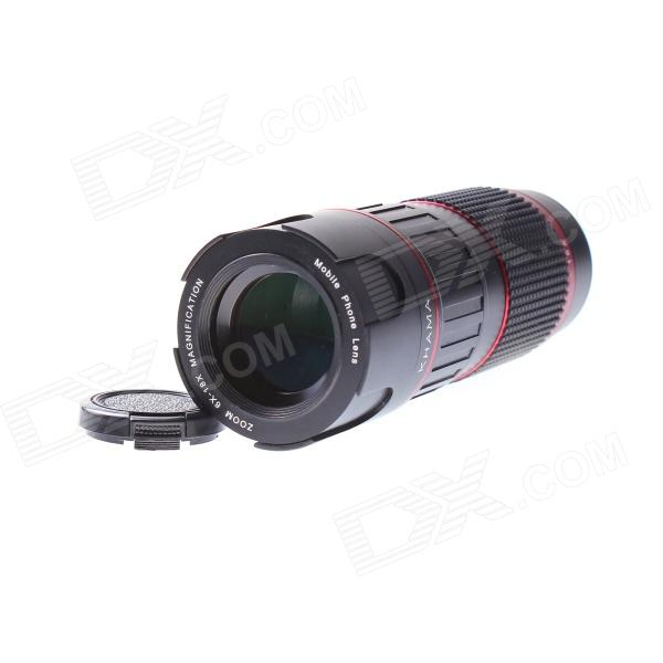 6-18X Manual Zoom Telephoto Lens w/Tripod for IPHONE 5 / 5S - Black + Red