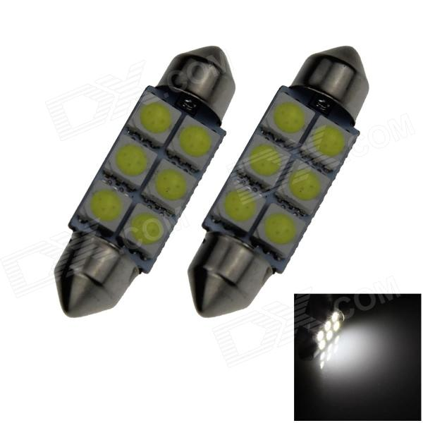 Festoon 39mm 1.2W 100lm 6*SMD 5050 LED White Light Car Lamp (2PCS)