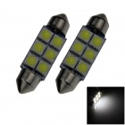 Festoon 39mm 1.2W 100lm 6 x SMD 5050 LED White Light Car Reading / Roof / Dome Lamp - (12V / 2 PCS)