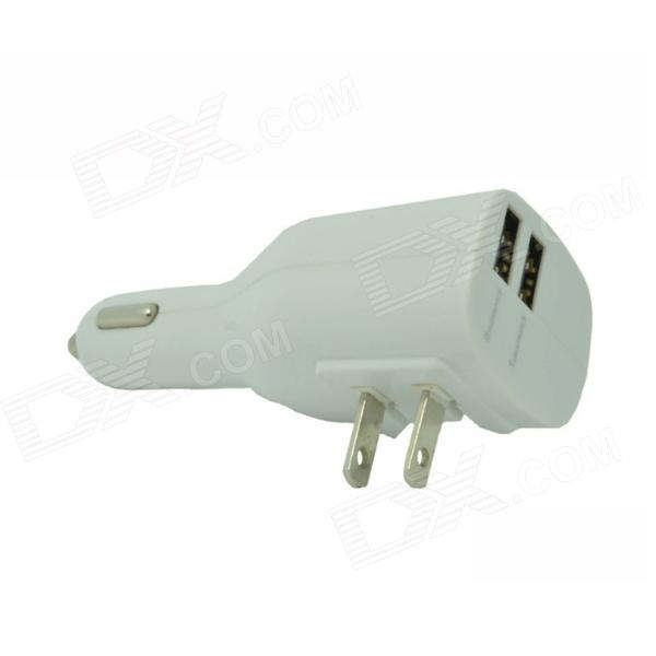 JAPAD Dual USB 2.1A / 1A Car Charger + US  Plug Adapter w/ Mini Speaker - White (12~24V / 110~220V)