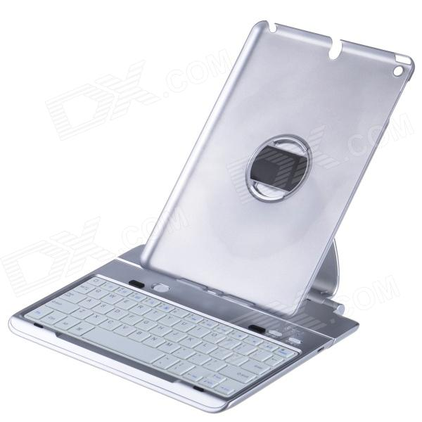 Bluetooth V3.0 64-Key Keyboard w/ Detachable Rotatable Aluminum Alloy Stand for IPAD AIR - Silver