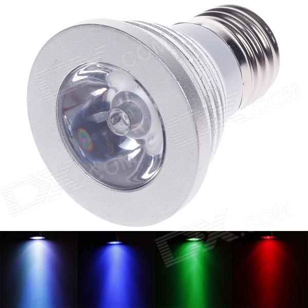 E27 3W 240lm LED RGB Light Bulb w/ Remote Control - Silver (AC 220V)
