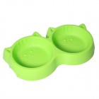Plastic Dual Bowl for Pet Cat Dog - Green