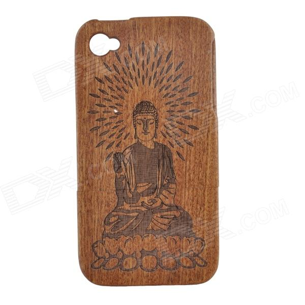 Buddha Pattern Protective Wooden Back Case for IPHONE 4 / 4S - Brown