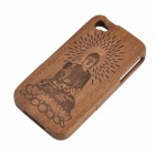 Case Retour Motif Bouddha de protection en bois pour iPhone 4 / 4S - Brown