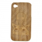 Cats + Alien Pattern Protective Bamboo Back Case for IPHONE 4 / 4S - Brown