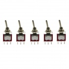 Jtron 6-pin Two Tranches Toggle Switch ON-ON - Red + Silver (5 PCS)