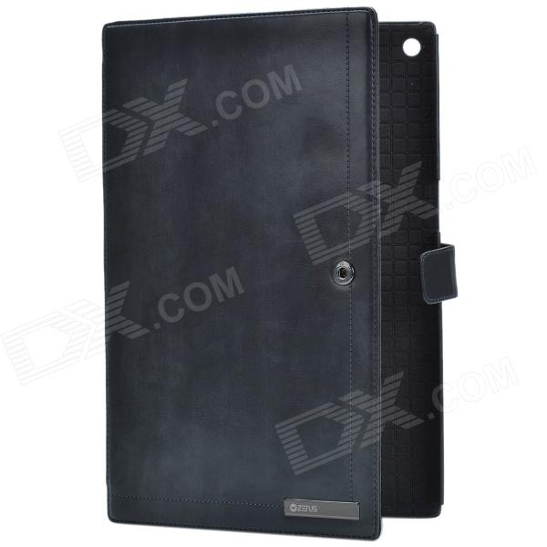 Zenus Business Style Protective Genuine Leather Case Cover Stand for Sony Xperia Tablet Z - Black стоимость